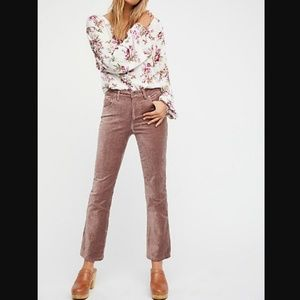 Free People New 30 Velvet Crop Flare Pants Stretch